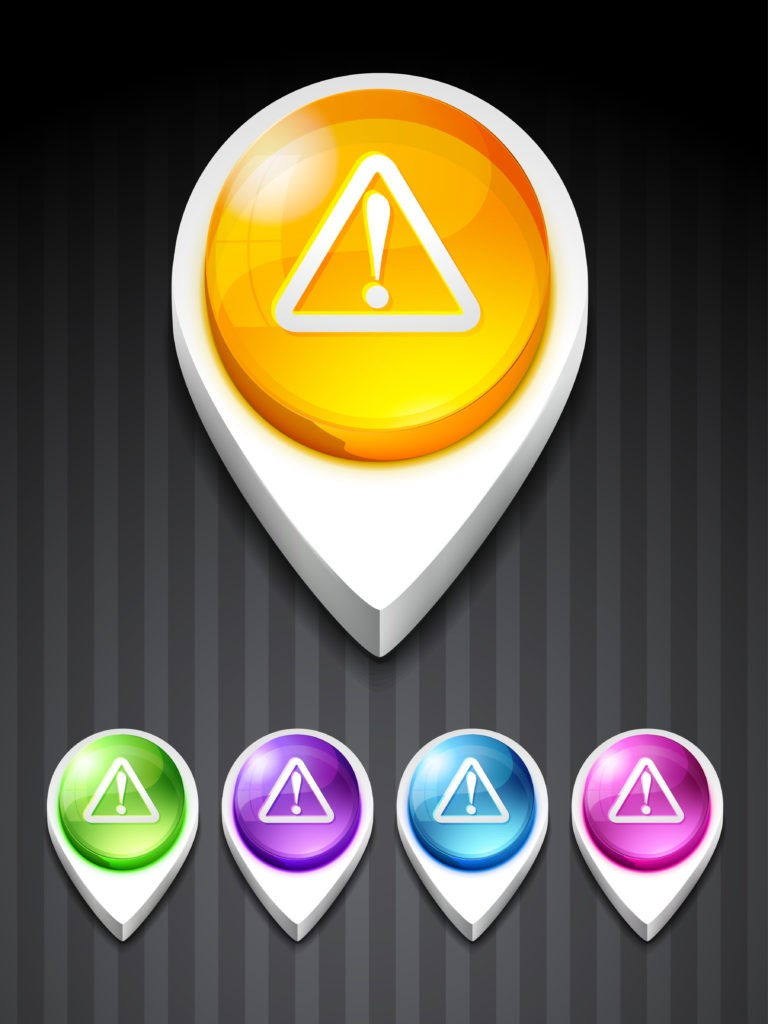 Image vecteur. Icônes 3D représentant des panneaux Attention Erreur et appliquez la méthode Examen Malin.