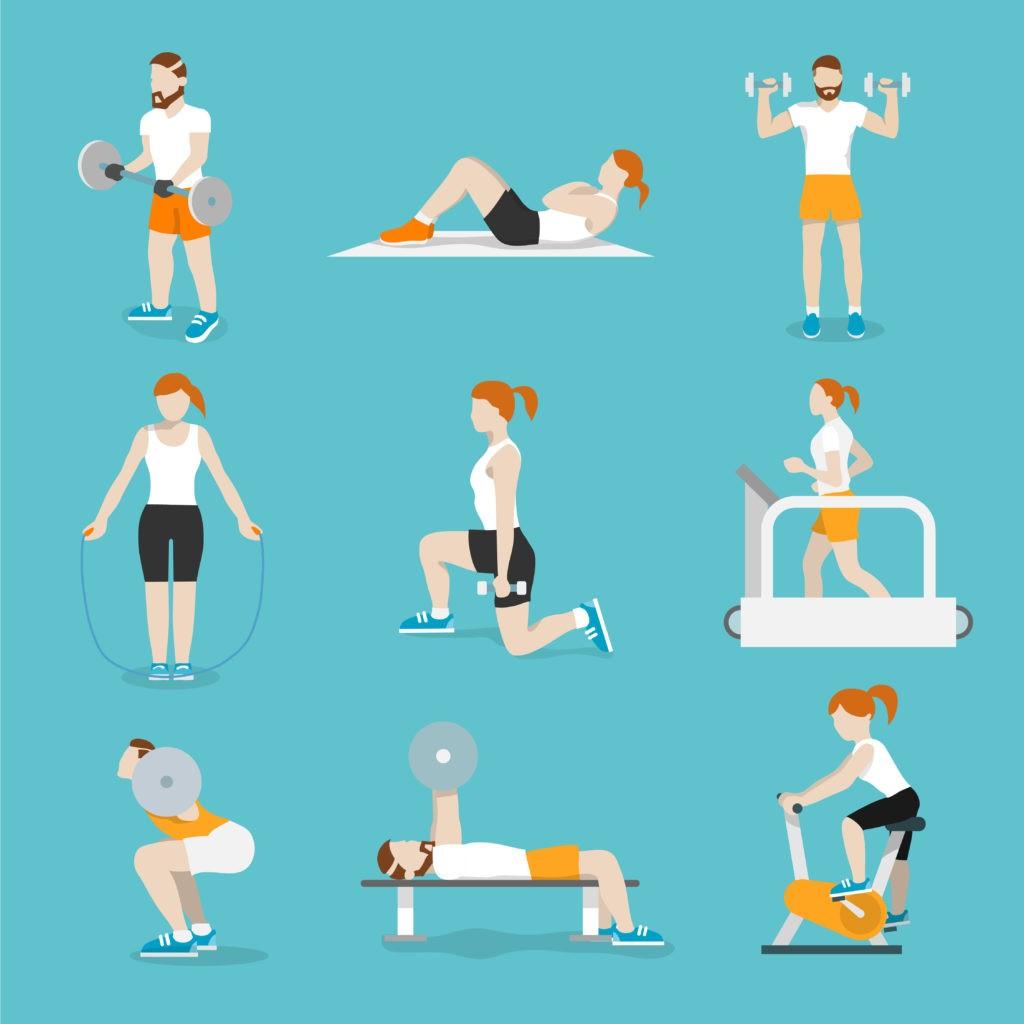 Des personnes font des exercices de fitness cardio. Ils s'entrainent sans jamais s'arrêter. Icônes plat illustration isolé vecteur