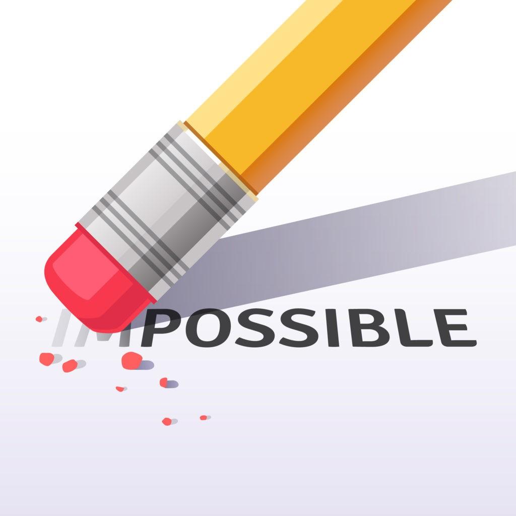 Changer le mot impossible au mot possible avec une gomme à effacer. Illustration vectorielle style plat isolé sur fond blanc.