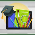 Image d'un cahier avec les crayons et la tablette électronique qui mettent en avant la Méthode Examen Malin