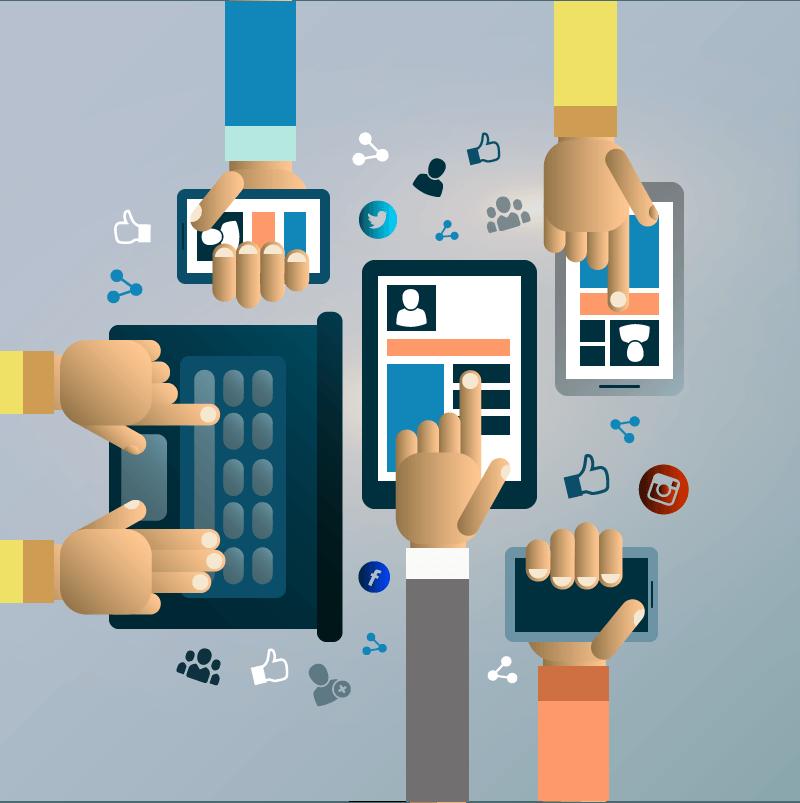 Des mains tiennent chaque un smartphone, une tablette ou un ordinateur portable. Elles sont toutes en train de naviguer sur les réseaux sociaux. Evitez la procrastination avec les réseaux sociaux.