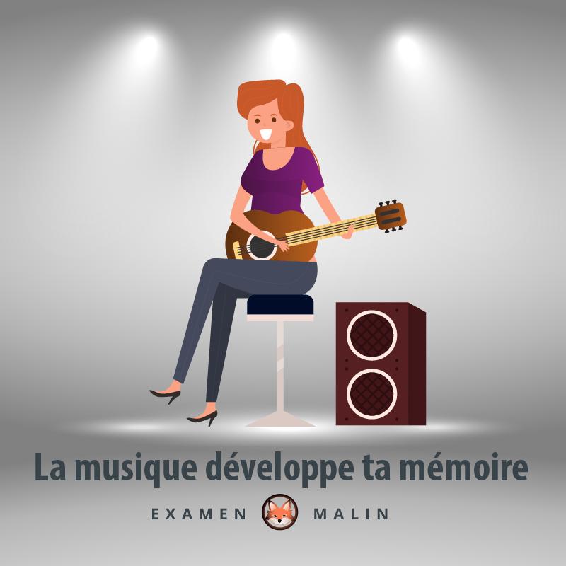 """Une femme assise sur une chaise joue de la guitare sèche. Il y a une mention où il est écrit : """"La musique développe ta mémoire""""."""