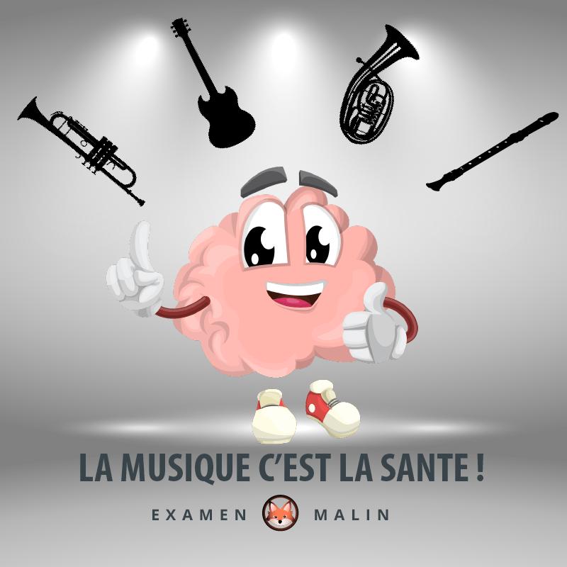 """Un cerveau avec des yeux lève son pouce. Quatre instruments de musique entoure le personnage. Il y a une mention où il est écrit : """"La musique c'est la santé"""""""