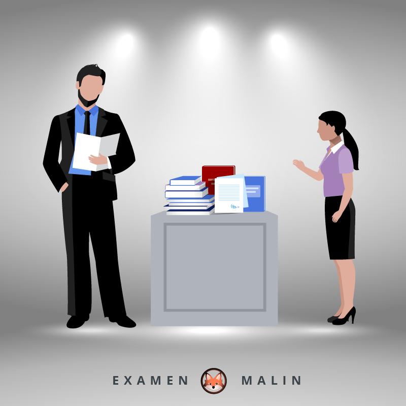 Un élève vient négociez sa note auprès du professeur pour valoriser son travail. Le professeur relit sa copie debout devant son bureau.