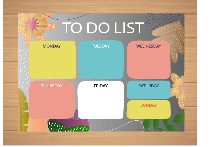 Une To Do List qui organise les tâches par jours de la semaine. Permettant de ne rien oublier et éviter la procrastination.