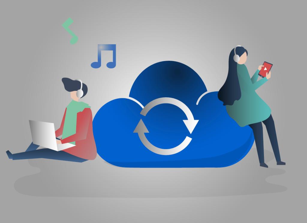 Un garçon est une fille travaillent tous les deux avec un casque audio sur les oreilles. le garçon travaille sur un ordinateur portable et le fille sur une tablette tactile. Ils sont tous les deux adossé à un nuage avec un symbole de chargement.