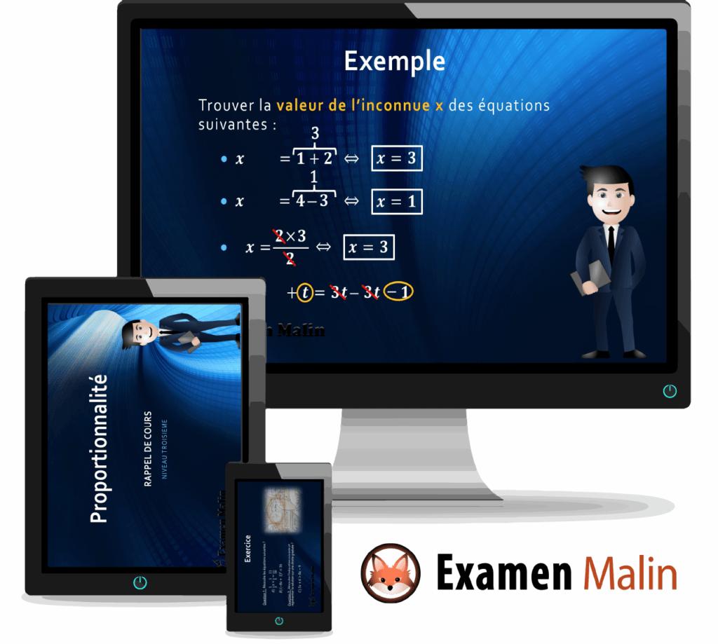 Exemple des différents support de cours en ligne sur ordinateur, tablette multimédia et smartphone.