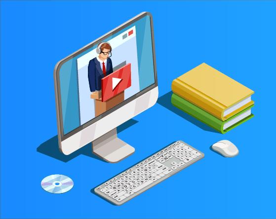 Un cours en ligne au format vidéo est en cours de lecture sur un ordinateur.