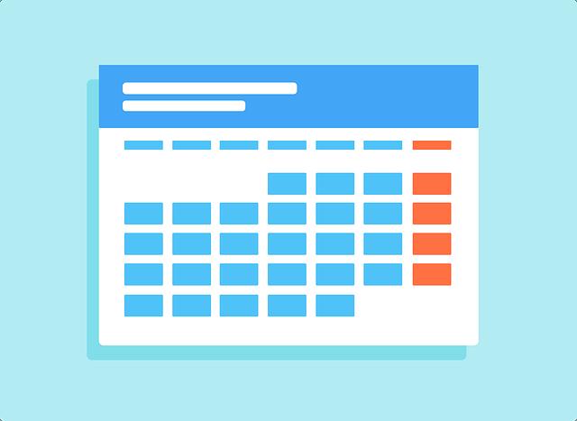 Modèle de calendrier pour rédiger un emploi du temps. Important pour se préparer à l'examen du Brevet.