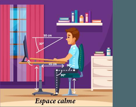 Choisissez un espace calme et bien adapté pour ne pas avoir de problème de dos. Un élève est en train de réviser.