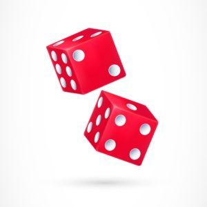 2 dés rouges pour réaliser l'expérience de probabilité