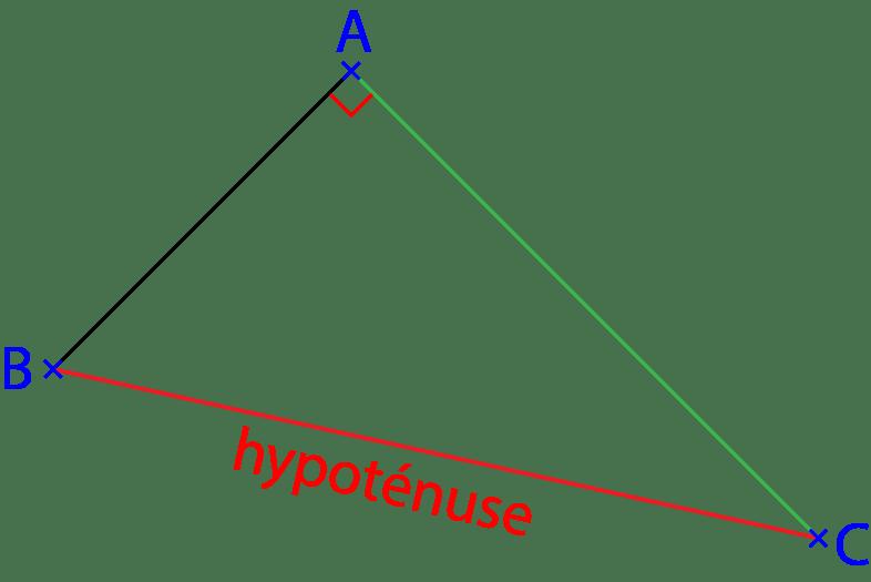 Triangle rectangle pour utiliser le théorème de Pythagore