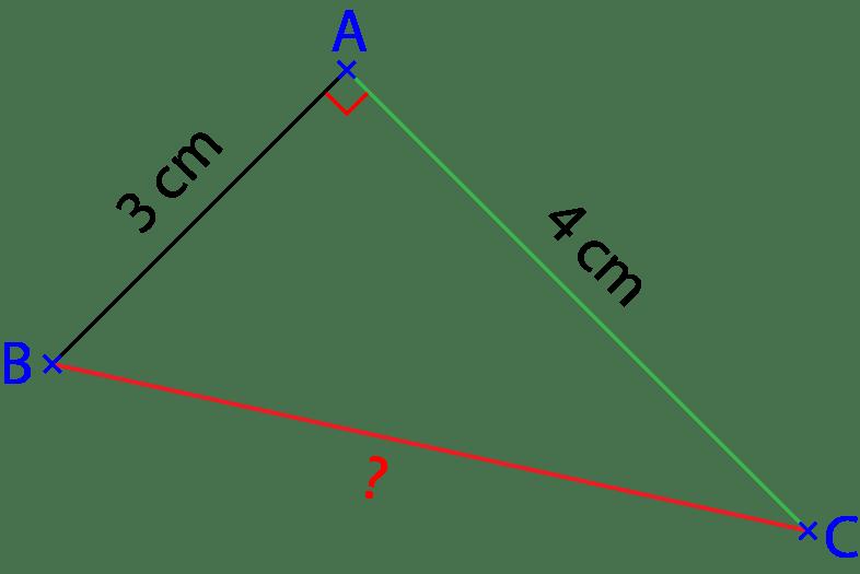 Figure d'une triangle rectangle. Exercice sur le théorème de Pythagore