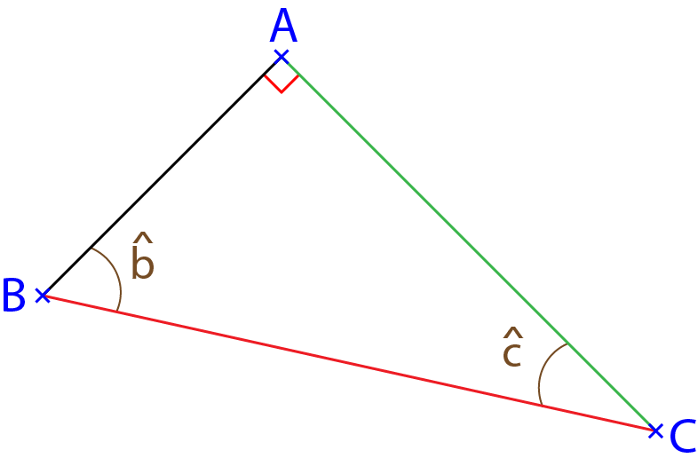 Triangle rectangle permettant de faire de la trigonométrie